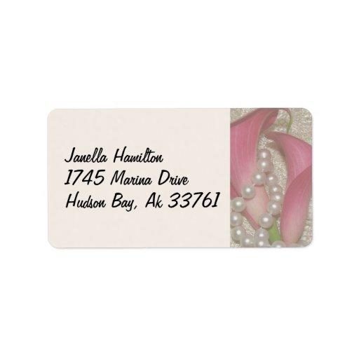 Etiquetas de dirección de las perlas y de las cala