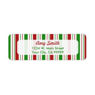Etiquetas de dirección de las rayas del navidad