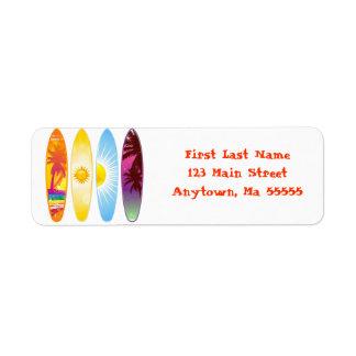 Etiquetas de dirección de las tablas hawaianas