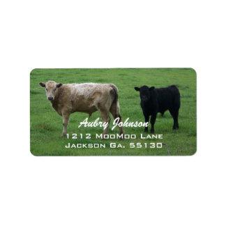 Etiquetas de dirección de las vacas