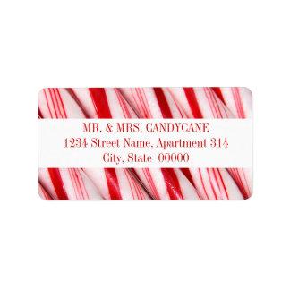 Etiquetas de dirección de los bastones de caramelo