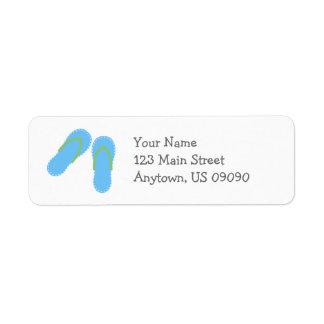 Etiquetas de dirección de los flips-flopes del ver