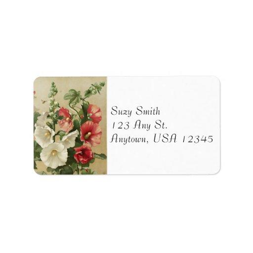 Etiquetas de dirección de los Hollyhocks del vinta