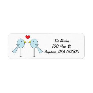 """Etiquetas de dirección de los """"Lovebirds"""""""