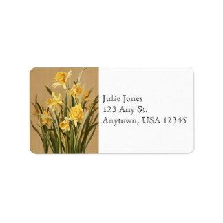 Etiquetas de dirección de los narcisos del vintage
