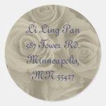 etiquetas de dirección de los rosas amarillos pegatinas redondas