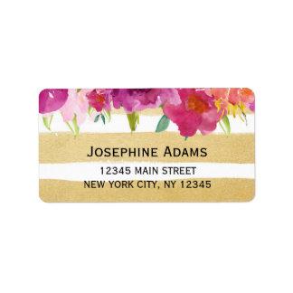 Etiquetas de dirección de los rosas de la acuarela