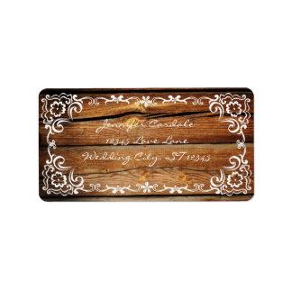 Etiquetas de dirección de madera del boda de la vo