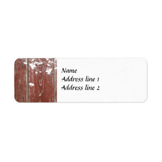 Etiquetas de dirección de madera del granero rojo