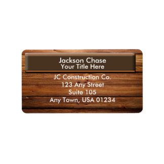 Etiquetas de dirección de madera del grano de la