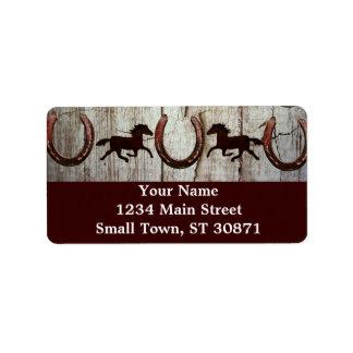 Etiquetas de dirección de madera del vaquero del g