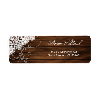 Etiquetas de dirección de madera y del boda del