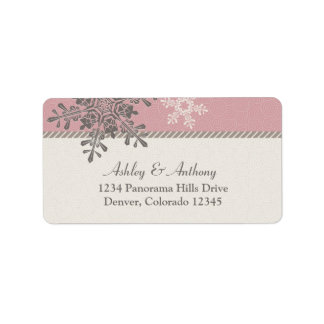 Etiquetas de dirección de marfil rosadas del boda