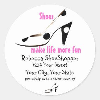 Etiquetas de dirección de moda de los zapatos etiquetas redondas