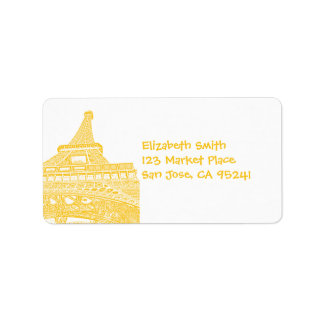 Etiquetas de dirección de oro de la torre Eiffel