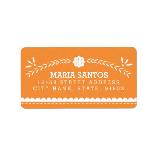 Etiquetas de dirección de Papel Picado - naranja