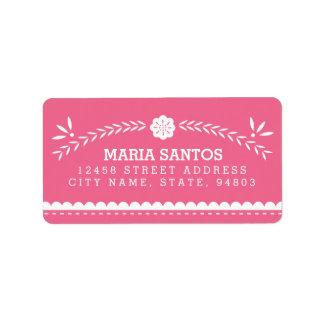 Etiquetas de dirección de Papel Picado - rosa
