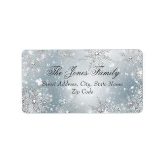 Etiquetas de dirección de plata del navidad del