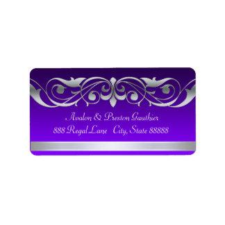 Etiquetas de dirección de plata púrpuras de la
