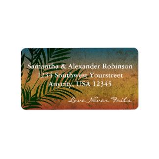 Etiquetas de dirección de rama de palmera de la pu