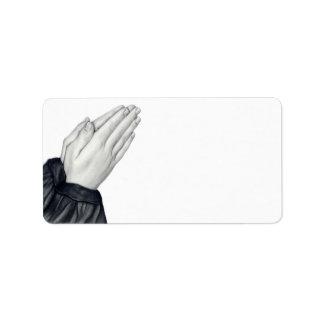 Etiquetas de dirección de rogación de las manos