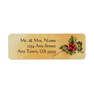 Etiquetas de dirección del acebo del navidad del v