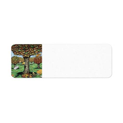 Etiquetas de dirección del árbol del libro