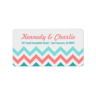 Etiquetas de dirección del boda de Chevron