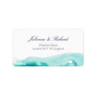 Etiquetas de dirección del boda de la acuarela del