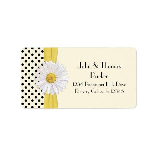 Etiquetas de dirección del boda de la margarita de