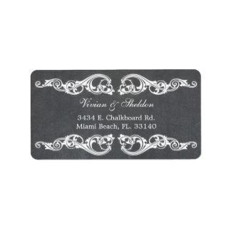 Etiquetas de dirección del boda de la pizarra de l