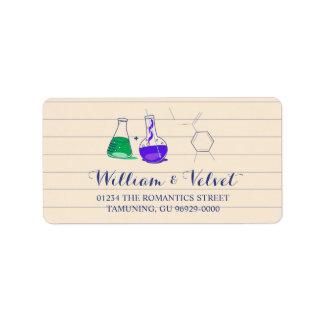 Etiquetas de dirección del boda de la química