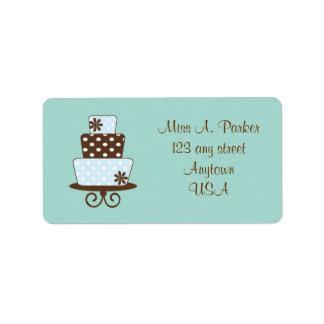Etiquetas de dirección del boda de la torta del