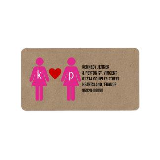 Etiquetas de dirección del boda de los pares del a