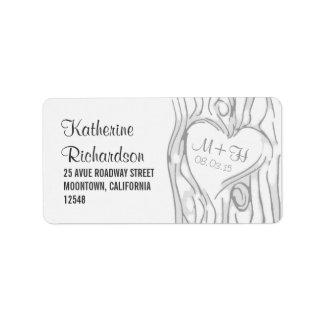 etiquetas de dirección del boda del árbol