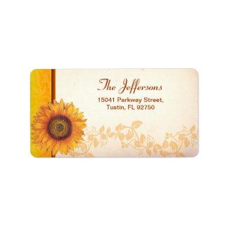 etiquetas de dirección del boda del girasol