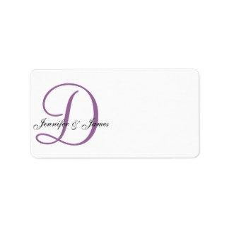 Etiquetas de dirección del boda del monograma púrp