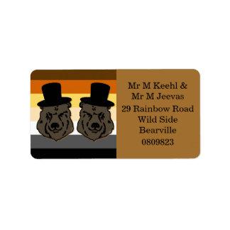 Etiquetas de dirección del boda del oso para los