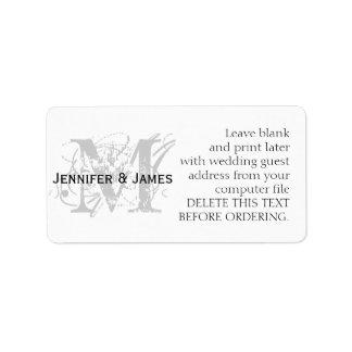 Etiquetas de dirección del boda monograma elegante
