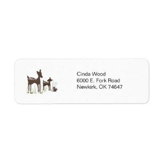 Etiquetas de dirección del bosque de los ciervos d