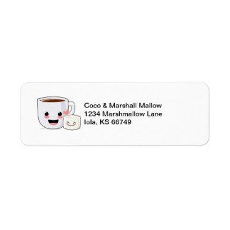 Etiquetas de dirección del cacao y de la melcocha