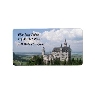 Etiquetas de dirección del castillo del cuento de