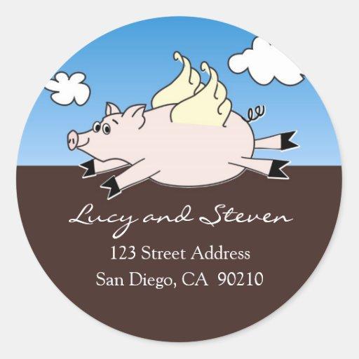 Etiquetas de dirección del cerdo del vuelo etiqueta redonda