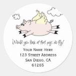 Etiquetas de dirección del cerdo del vuelo etiquetas redondas