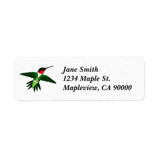 Etiquetas de dirección del colibrí