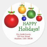 Etiquetas de dirección del día de fiesta del navid etiquetas redondas
