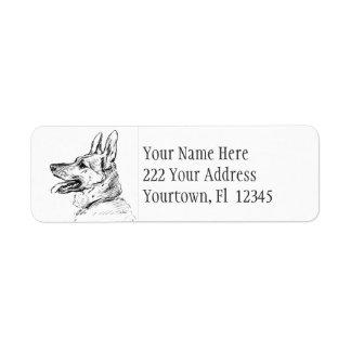 Etiquetas de dirección del dibujo del perro de pas