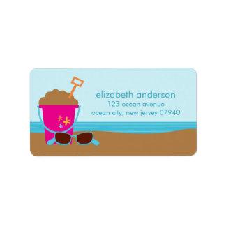 Etiquetas de dirección del fiesta de la playa