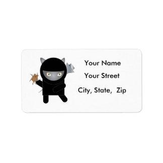 Etiquetas de dirección del gatito de Ninja
