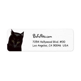 Etiquetas de dirección del gato negro